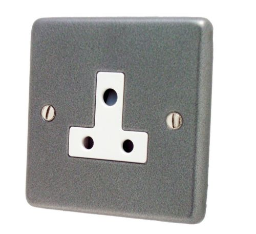 G&H CP59W Standard Plate Pewter 1 Gang Single 5 Amp Plug Socket